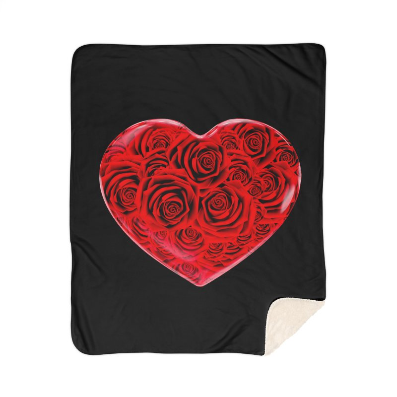 Red Roses Heart Home Sherpa Blanket Blanket by zuzugraphics's Artist Shop