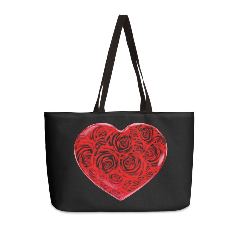 Red Roses Heart Accessories Weekender Bag Bag by zuzugraphics's Artist Shop