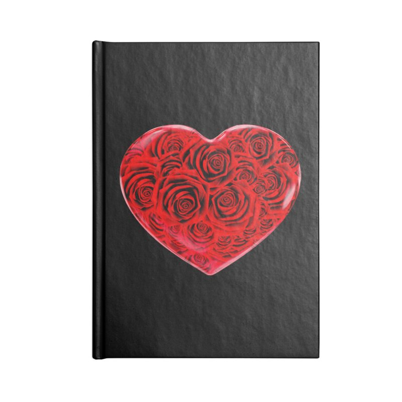 Red Roses Heart Accessories Lined Journal Notebook by zuzugraphics's Artist Shop