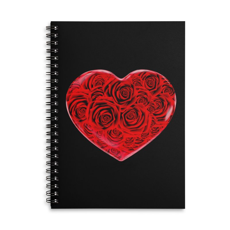 Red Roses Heart Accessories Lined Spiral Notebook by zuzugraphics's Artist Shop