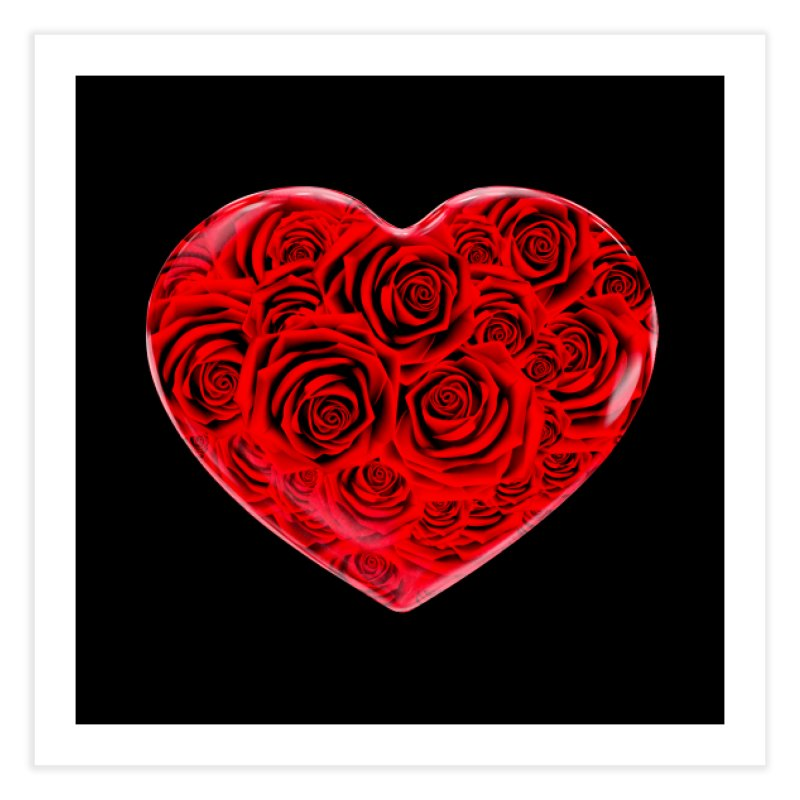 Red Roses Heart Home Fine Art Print by zuzugraphics's Artist Shop