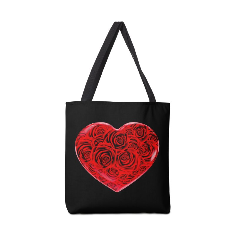 Red Roses Heart Accessories Bag by zuzugraphics's Artist Shop