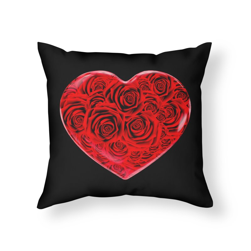 Red Roses Heart Home Throw Pillow by zuzugraphics's Artist Shop