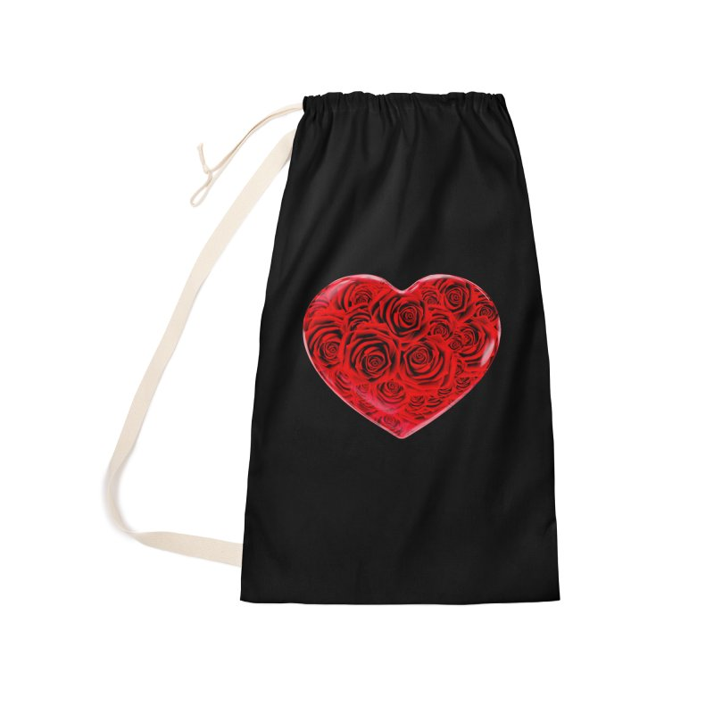 Red Roses Heart Accessories Laundry Bag Bag by zuzugraphics's Artist Shop