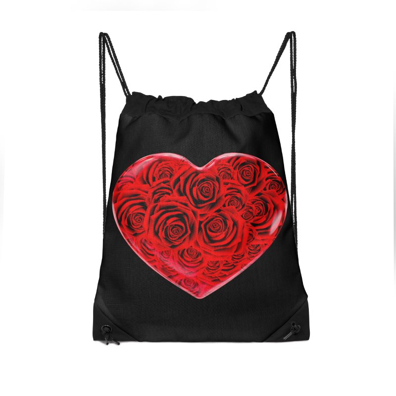 Red Roses Heart Accessories Drawstring Bag Bag by zuzugraphics's Artist Shop