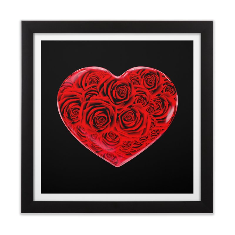 Red Roses Heart Home Framed Fine Art Print by zuzugraphics's Artist Shop