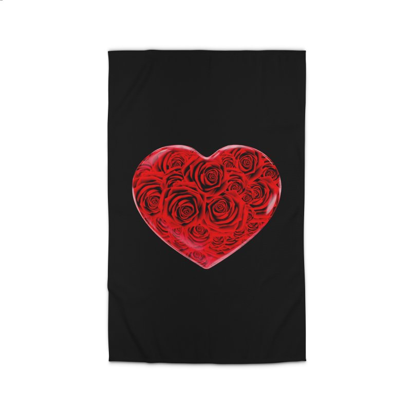 Red Roses Heart Home Rug by zuzugraphics's Artist Shop