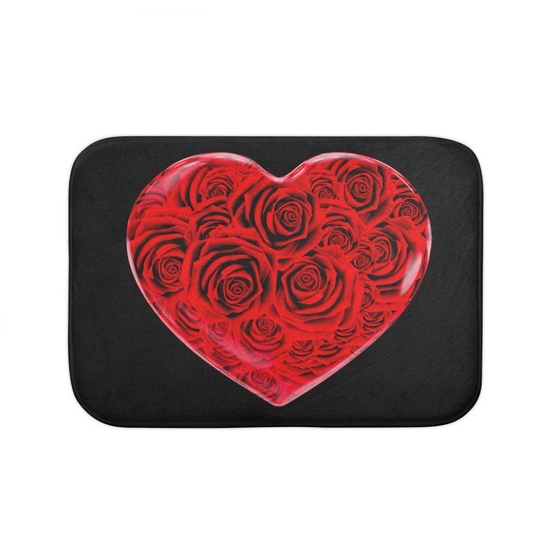 Red Roses Heart Home Bath Mat by zuzugraphics's Artist Shop