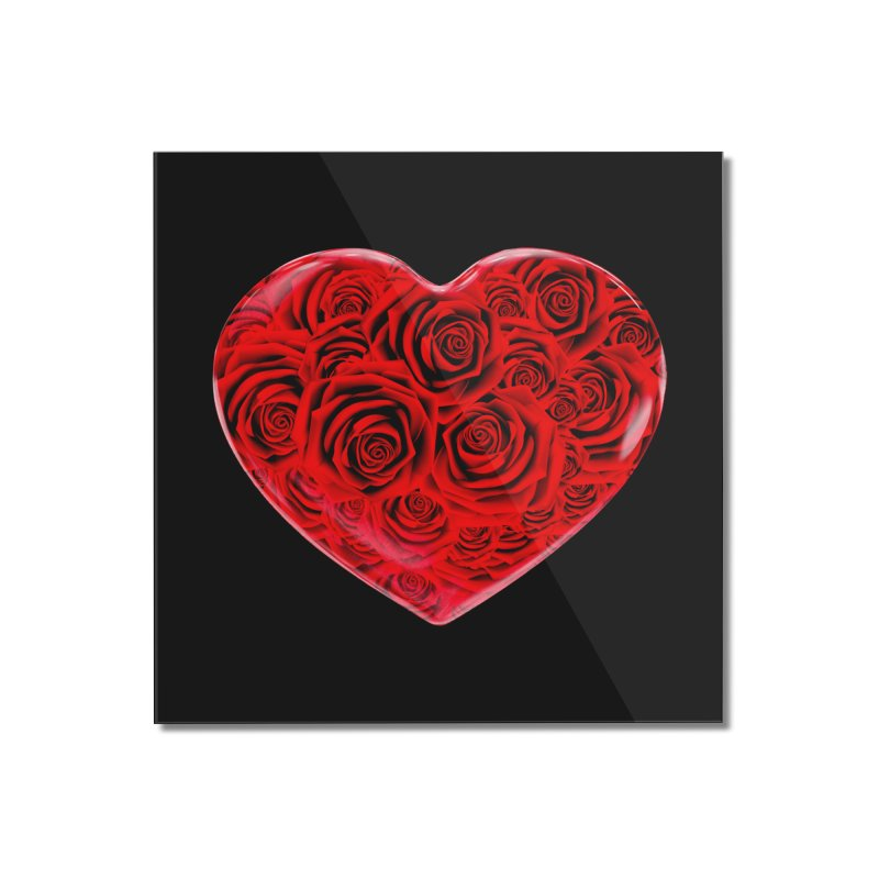 Red Roses Heart Home Mounted Acrylic Print by zuzugraphics's Artist Shop