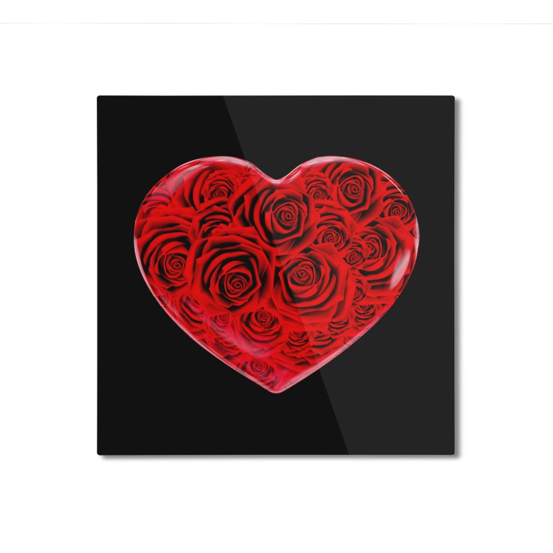 Red Roses Heart Home Mounted Aluminum Print by zuzugraphics's Artist Shop