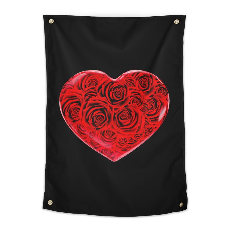 Red Roses Heart Home Tapestry by zuzugraphics's Artist Shop
