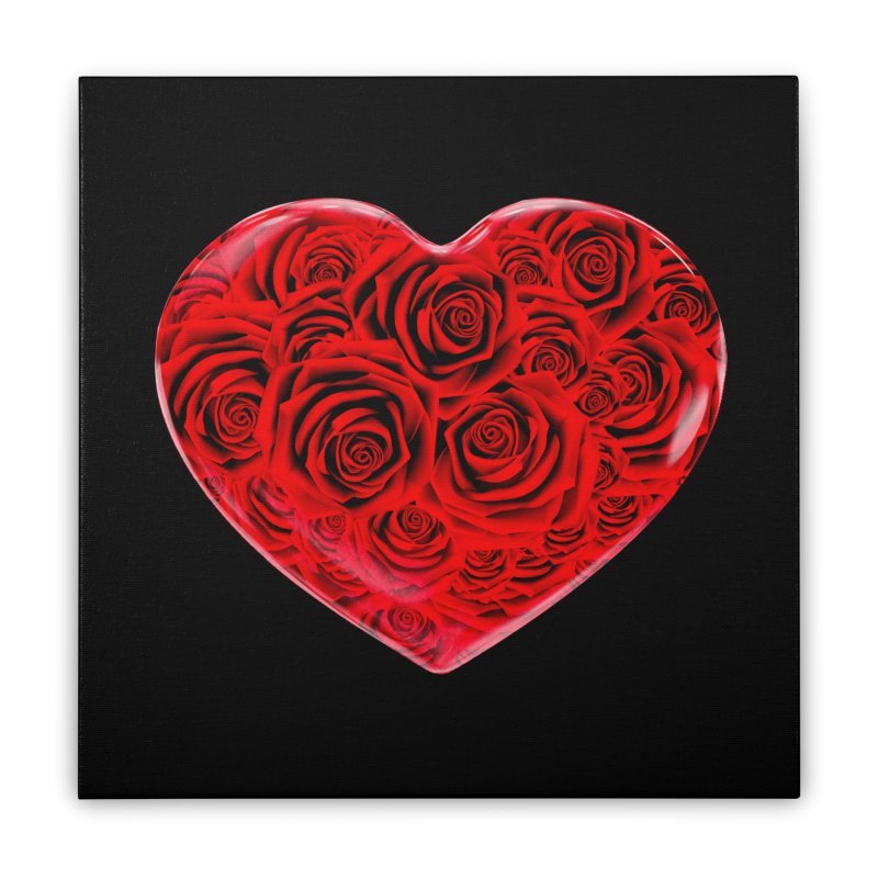 Red Roses Heart Home Stretched Canvas by zuzugraphics's Artist Shop