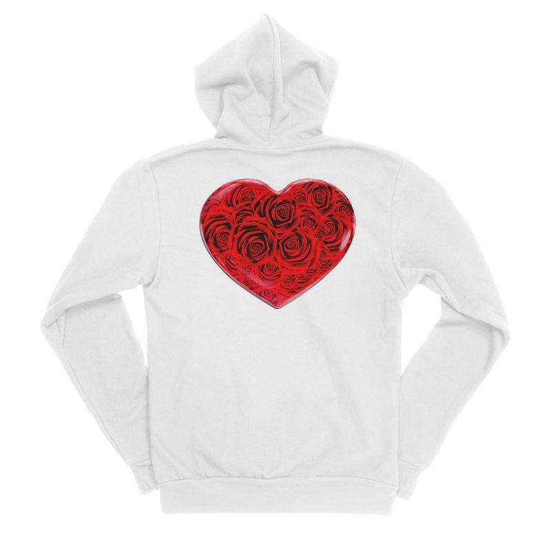 Red Roses Heart Men's Sponge Fleece Zip-Up Hoody by zuzugraphics's Artist Shop