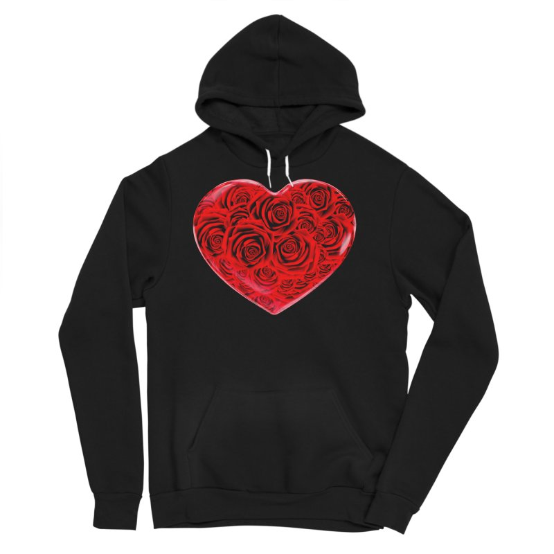 Red Roses Heart Men's Sponge Fleece Pullover Hoody by zuzugraphics's Artist Shop