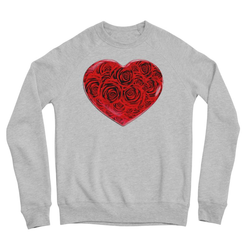 Red Roses Heart Men's Sponge Fleece Sweatshirt by zuzugraphics's Artist Shop