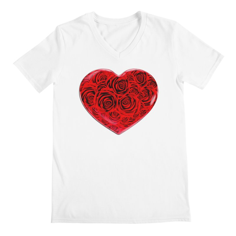Red Roses Heart Men's V-Neck by zuzugraphics's Artist Shop