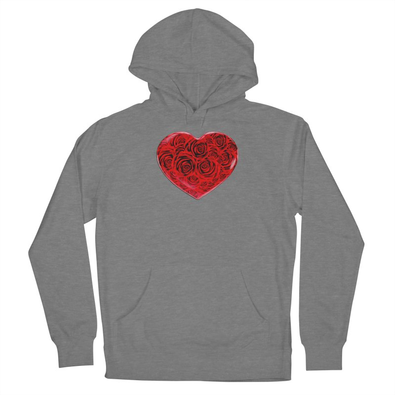 Red Roses Heart Men's French Terry Pullover Hoody by zuzugraphics's Artist Shop