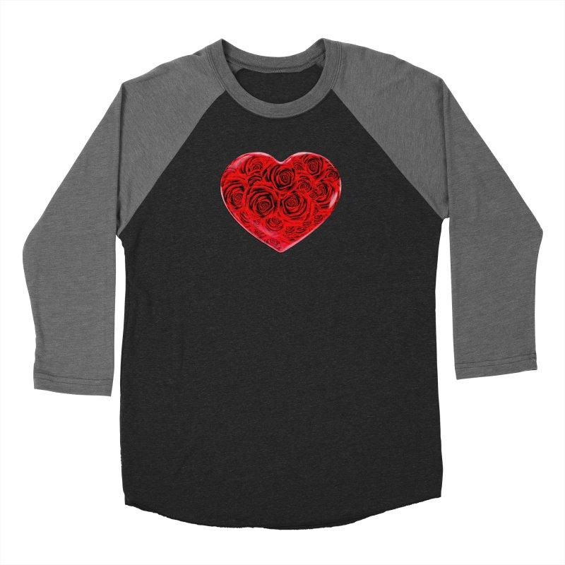 Red Roses Heart Men's Baseball Triblend Longsleeve T-Shirt by zuzugraphics's Artist Shop