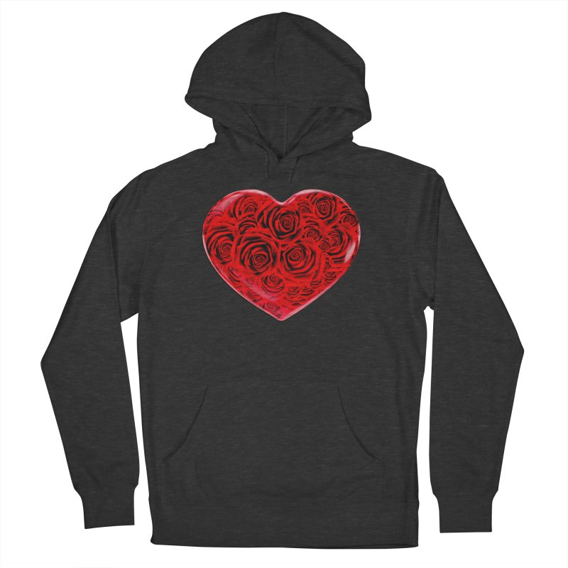 Red Roses Heart Women's French Terry Pullover Hoody by zuzugraphics's Artist Shop