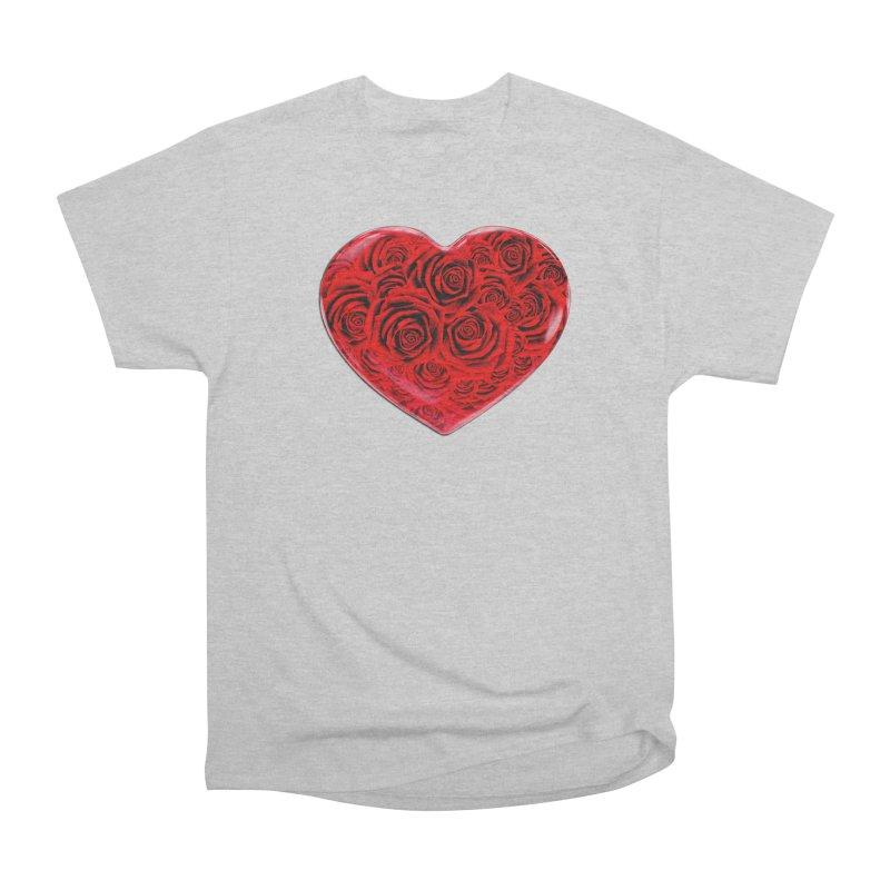 Red Roses Heart Women's Heavyweight Unisex T-Shirt by zuzugraphics's Artist Shop