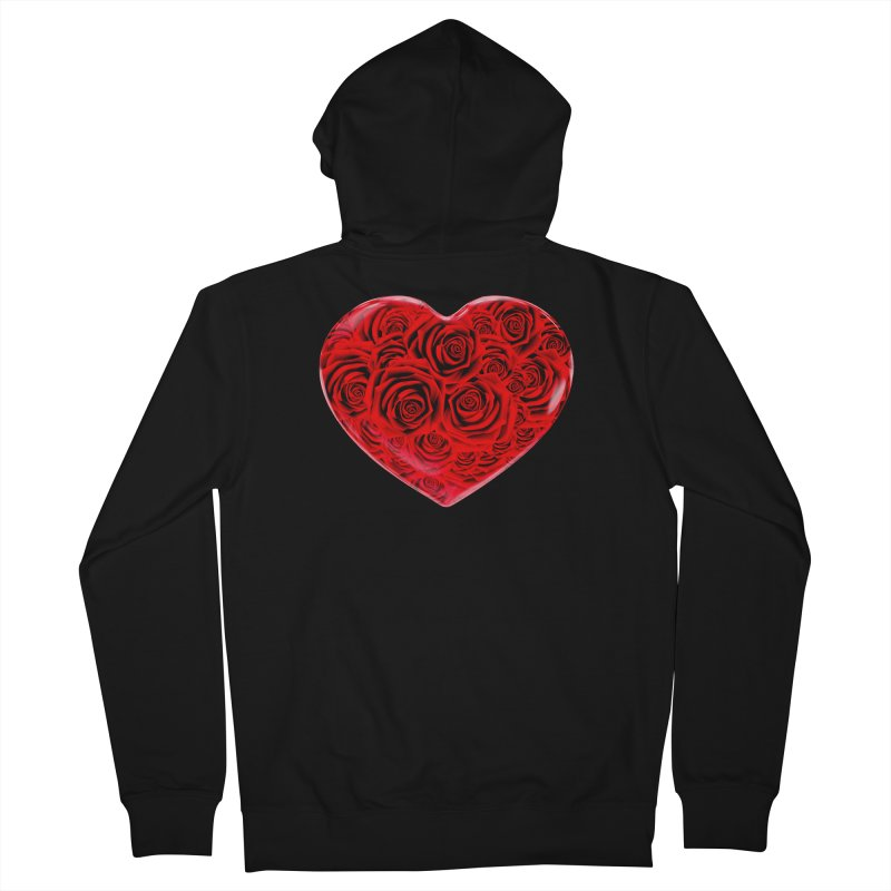 Red Roses Heart Women's French Terry Zip-Up Hoody by zuzugraphics's Artist Shop