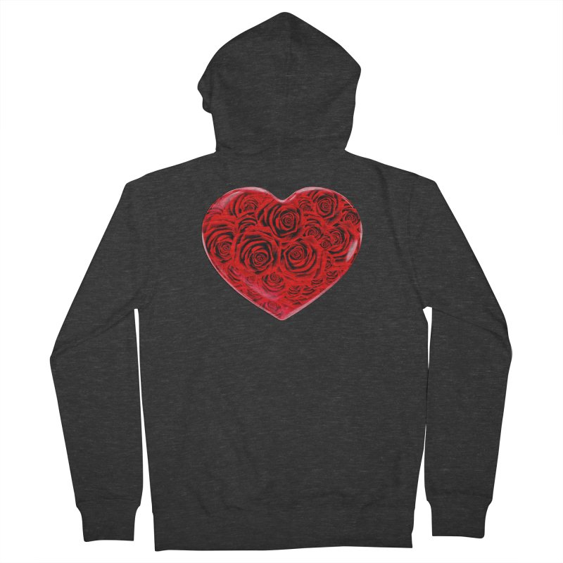 Red Roses Heart Men's French Terry Zip-Up Hoody by zuzugraphics's Artist Shop