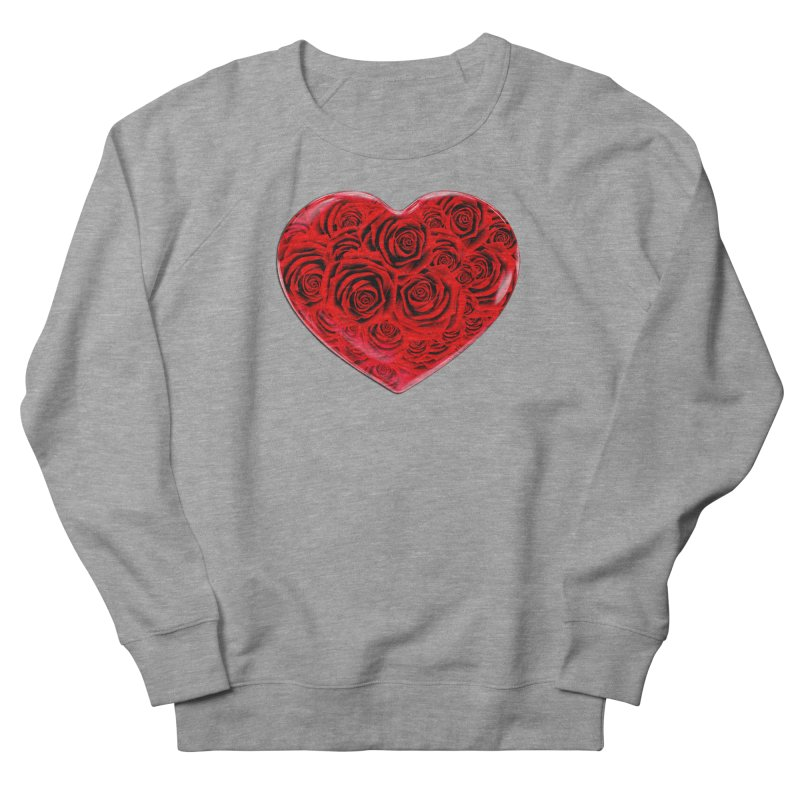 Red Roses Heart Women's French Terry Sweatshirt by zuzugraphics's Artist Shop