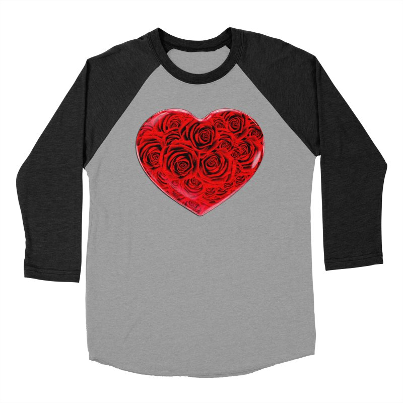 Red Roses Heart Women's Baseball Triblend Longsleeve T-Shirt by zuzugraphics's Artist Shop
