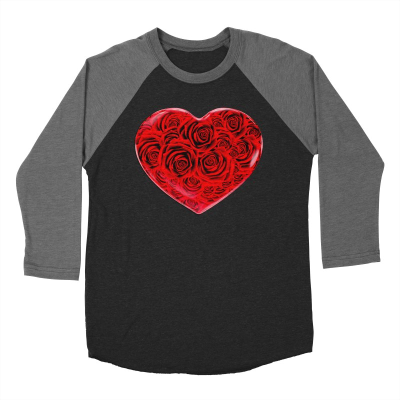 Red Roses Heart Men's Baseball Triblend Longsleeve T-Shirt by zuzugraphics's Artist Shop