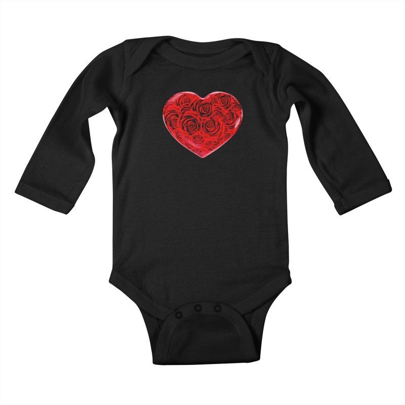 Red Roses Heart Kids Baby Longsleeve Bodysuit by zuzugraphics's Artist Shop