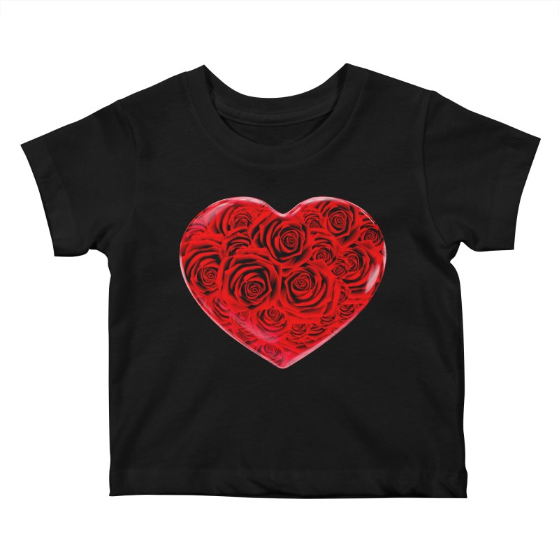 Red Roses Heart Kids Baby T-Shirt by zuzugraphics's Artist Shop