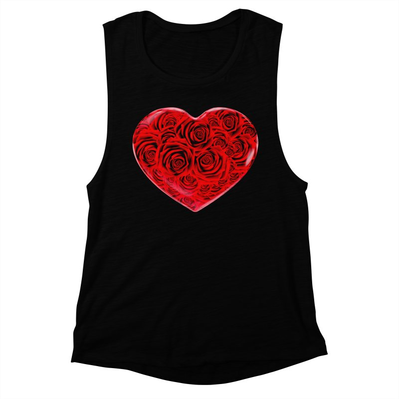 Red Roses Heart Women's Muscle Tank by zuzugraphics's Artist Shop