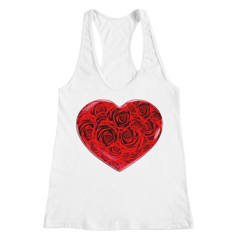 Red Roses Heart Women's Racerback Tank by zuzugraphics's Artist Shop