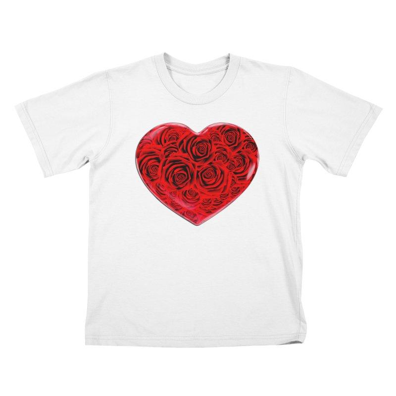 Red Roses Heart Kids T-Shirt by zuzugraphics's Artist Shop