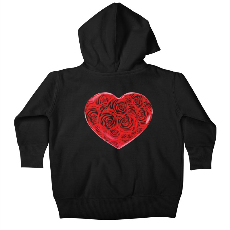 Red Roses Heart Kids Baby Zip-Up Hoody by zuzugraphics's Artist Shop