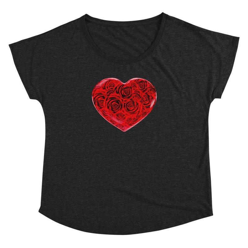 Red Roses Heart Women's Dolman Scoop Neck by zuzugraphics's Artist Shop
