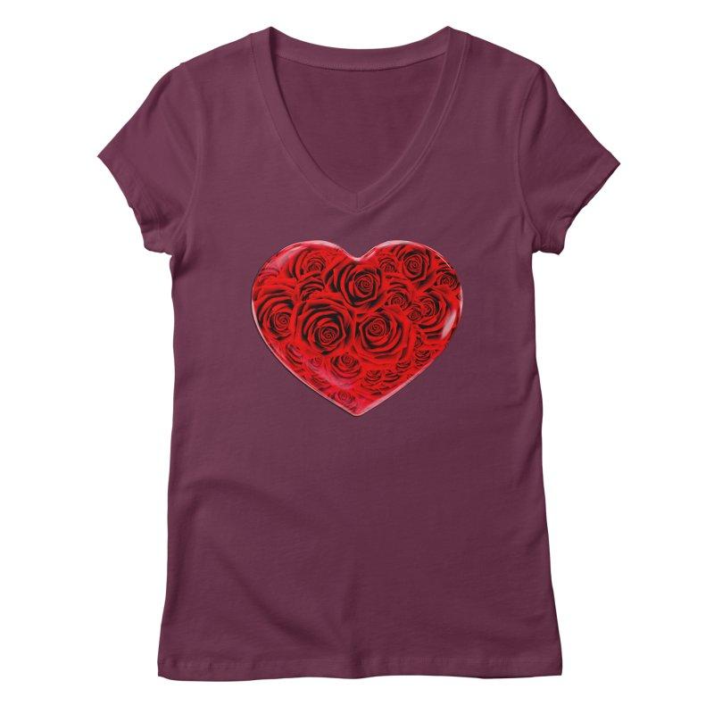 Red Roses Heart Women's Regular V-Neck by zuzugraphics's Artist Shop