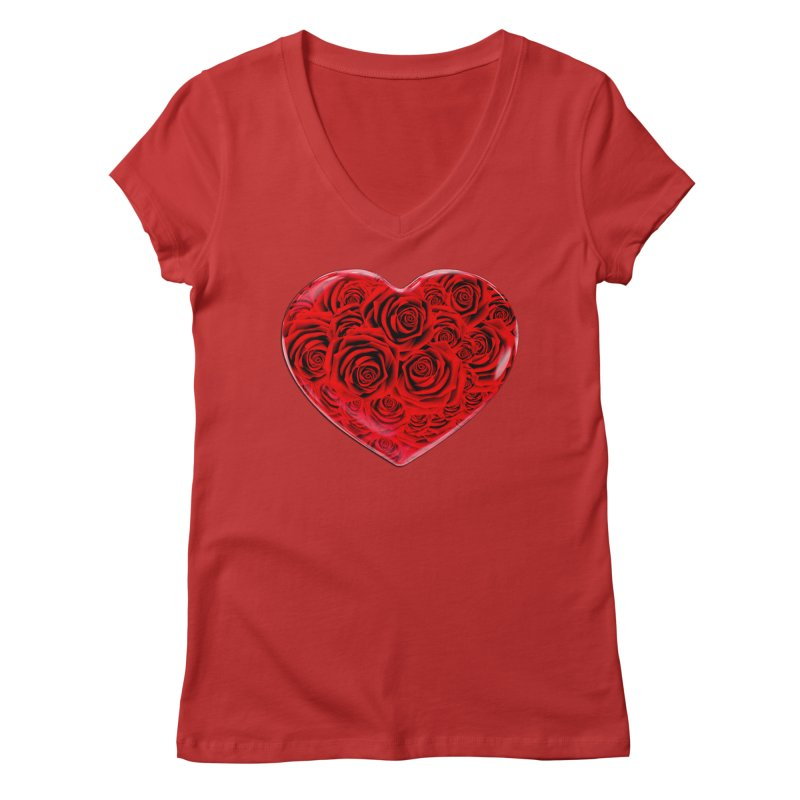 Red Roses Heart Women's Regular V-Neck by zuzugraphics's Artist Shop