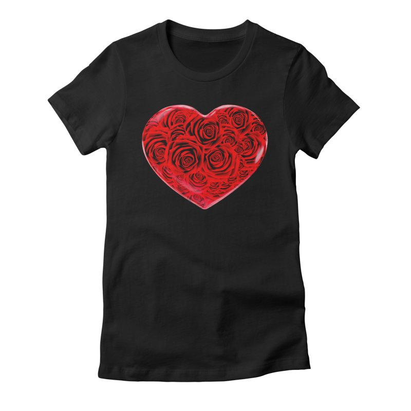 Red Roses Heart Women's Fitted T-Shirt by zuzugraphics's Artist Shop