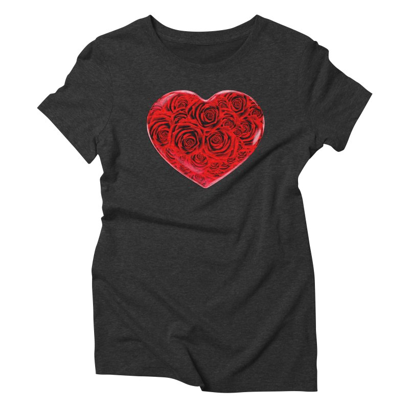 Red Roses Heart Women's Triblend T-Shirt by zuzugraphics's Artist Shop