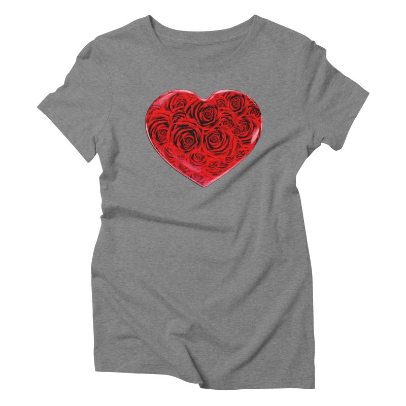 Red Roses Heart Women's Triblend T-Shirt by zuzugraphics's Artist Shop