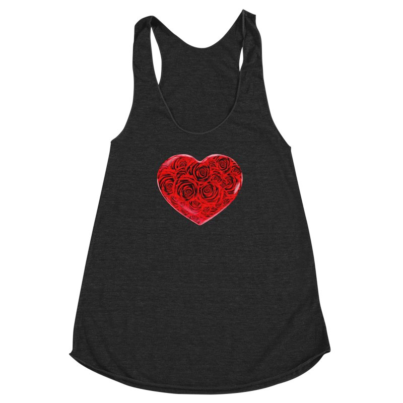 Red Roses Heart Women's Racerback Triblend Tank by zuzugraphics's Artist Shop