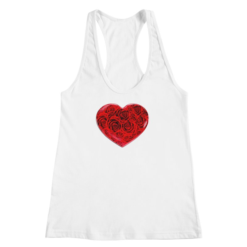 Red Roses Heart Women's Racerback Tank by zuzugraphics's Artist Shop