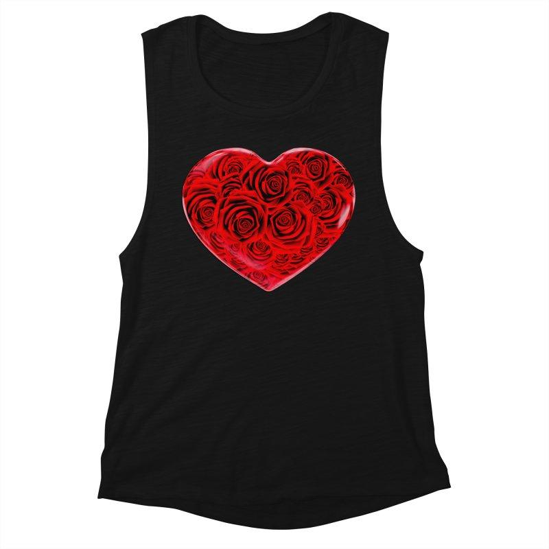 Red Roses Heart Women's Muscle Tank by zuzugraphics's Artist Shop