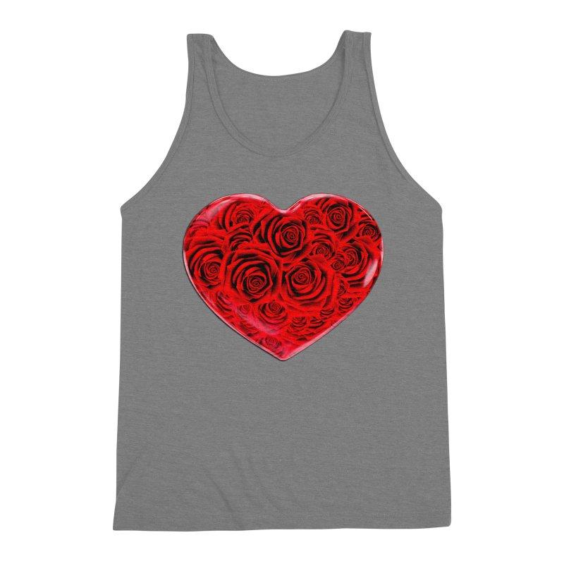 Red Roses Heart Men's Triblend Tank by zuzugraphics's Artist Shop