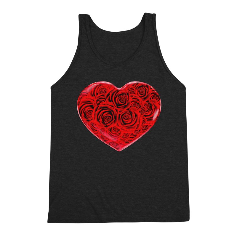 Red Roses Heart Men's Triblend Tank by zuzugraphics's Artist Shop
