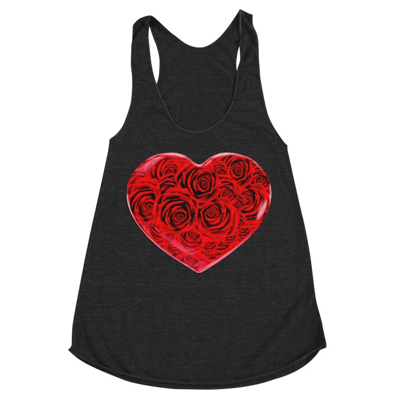 Red Roses Heart Women's Racerback Triblend Tank by zuzugraphics's Artist Shop