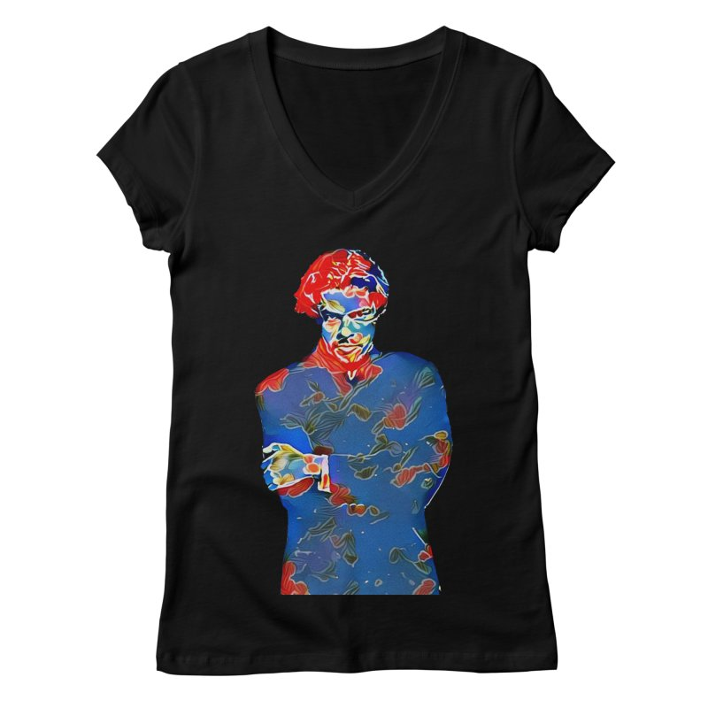 Portrait of a Young Immigrant Women's V-Neck by zuzugraphics's Artist Shop