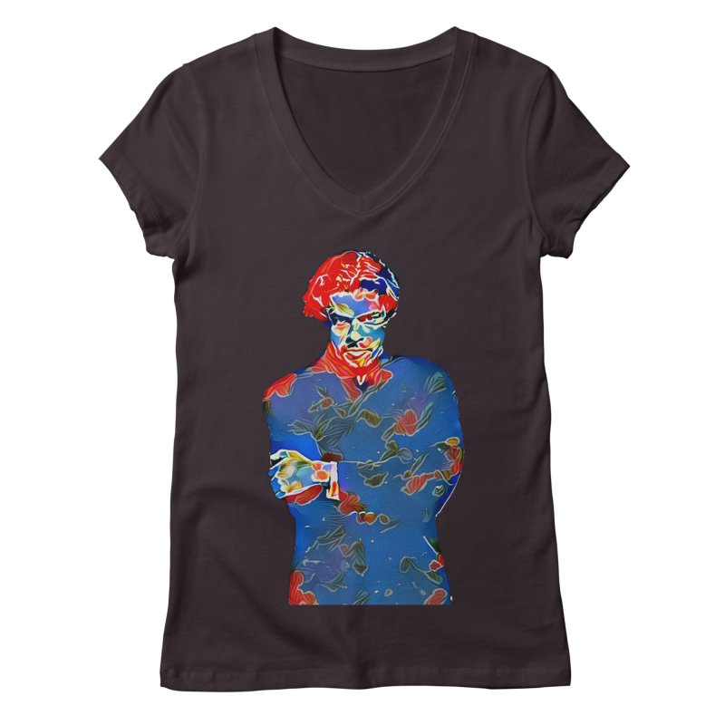 Portrait of a Young Immigrant Women's Regular V-Neck by zuzugraphics's Artist Shop