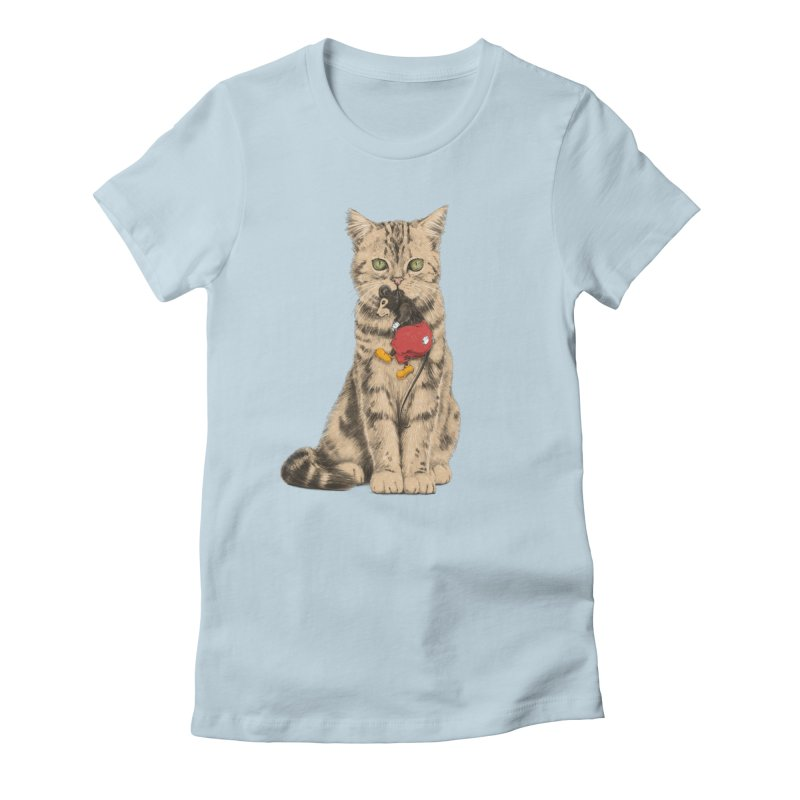 Mickey The Cat in Women's Fitted T-Shirt Baby Blue by Andrej Zwetzig